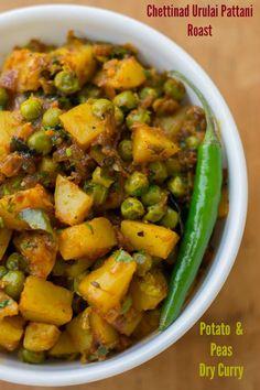 Chettinad Style Urulai Pattani Roast - Potato Peas Curry