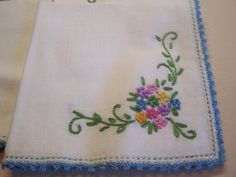 Pretty Vintage Embroidered Linen Tea Napkins Set by DebbiesBusyBee, $18.00