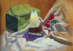 Candle on the metal green box #TraditionalArt #Paintings #StillLife #box #candle #green #metal #mug #art