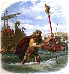 """El portaestandarte de la Legión X en el desembarco en Britania. Ilustración del libro de James William Edmund Doyle, """"The Britons"""" in A Chronicle of England: B.C. 55 – A.D. 1485, Londres, 1864"""
