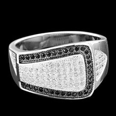 AMAZING ROUND BLACK & WHITE CUBIC ZIRCONIA MICRO PAVE SETTING 925 SILVER RING #Handmade #Ring