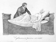 """Jude Knight -- The Birth Experience in the Regency Era by Regina Jeffers (""""A male midwife would ask the woman if she were prepared to 'take a pain,' meaning a vaginal examination. For this procedure, a pregnant woman would customarily lie on her left side upon a bed. She would be asked to draw her knees up to her abdomen."""")"""