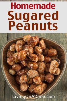 Sugared peanuts are a yummy Christmas candy you can easily make at home! This homemade sugared peanuts recipe will give you the same taste for a lot less cost than buying from a store! Click here for the easy recipe!