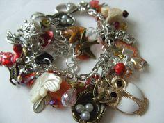Birds, charms bracelet, loaded bracelet, bird watcher, bird bracelet, nest, feather, owl, cream, white, brown, by NewellsJewels on etsy on Etsy, $51.30