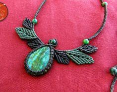 Macrame Necklace with CHRYSOCOLLA. BOHEMIAN jewelry boho