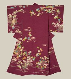 Rinzu (damask) silk with the main designs accomplished with yuzen-dyeing and metallic couching. Late Taisho to early Showa (1918-1935), Japan.The Kimono Gallery