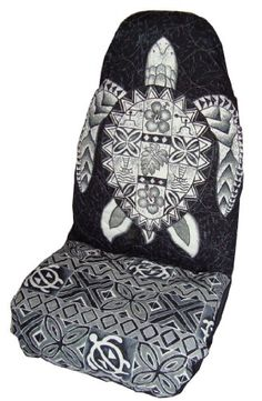 Black Honu (Sea Turtle) Hawaiian Car Seat Covers (Standard Size) by Winnie Fashion