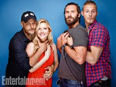 Travis Fimmel, Katheryn Winnick, Clive Standen, and Alexander Ludwig. Show: Vikings. San Diego Comic-Con 2014