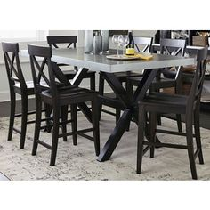 Keaton Charcoal and Zinc Top Trestle Gathering Table - Espresso