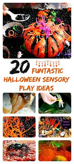 20 super fun and slimy sensory play ideas with a big Halloween kick. Suitable for kids all ages.