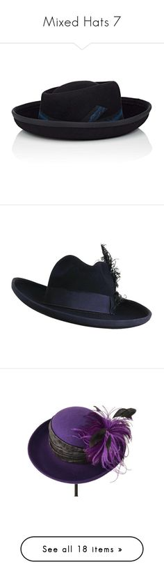 """""""Mixed Hats 7"""" by middletondonna ❤ liked on Polyvore featuring accessories, hats, black, ribbon hat, felt crown, fur felt hat, jennifer ouellette, fur hat, blue and navy blue fedora"""