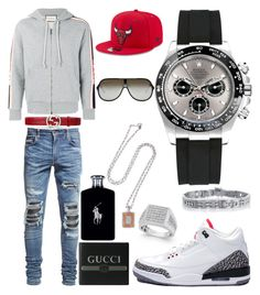 """Casual"" by pitbull8382 on Polyvore featuring AMIRI, Gucci, NIKE, Ralph Lauren, Rolex, Marco Ta Moko and New Era"
