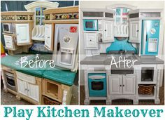 Little Bits of Sunshine: Emily& Play Kitchen Makeover Reveal Kids Play Kitchen, Toy Kitchen, Kitchen Redo, Kitchen Makeovers, Kitchen Cabinets, Little Tikes Makeover, Backyard Playset, Toy Rooms, Kids Rooms