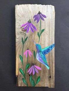 Learn Woodworking Hand painted hummingbird with purple coneflowers on reclaimed wood measures 5 by Arte Pallet, Wood Pallet Art, Pallet Painting, Tole Painting, Wood Pallets, Diy Painting, Painting On Wood, Wood Wood, Art On Wood