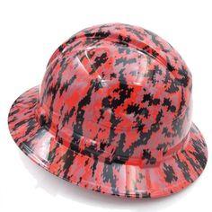 RED DIGITAL CAMO Hydrographic Full Brim Safety Hard Hats  Price: 89.96 Shipping Canada & U.S.A.  #customhardhats Digital Camo, Hard Hats, Cover Design, Safety, Free Shipping, Stylish, Red, Canada, Fashion