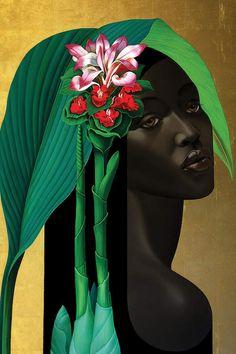"crystalline-aesthetics: "" Slava Fokk "" After the Rain Arum Rosa de Monte Banana "" Jungle Queens series, oil and gold leaf on canvas "" Canvas Art Prints, Oil On Canvas, Jungle Queen, L'art Du Portrait, Montage Photo, African American Art, South African Art, Black Women Art, Black Artists"