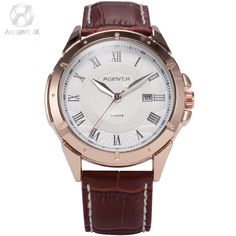 31.99$  Buy now - http://alibrd.shopchina.info/1/go.php?t=2035028626 - AGENTX Brand Auto Day Display Rose Gold Stainless Steel Case Leather Strap Casual Wristwatch Men Business Quartz Watch / AGX042 31.99$ #shopstyle