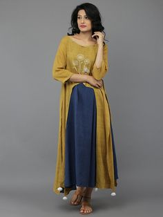 Yellow Blue Full Length Khadi Kurta