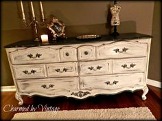 French Shabby Glam Black and White Dresser.  Exactly how I want my dresser to look!!