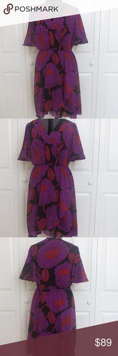 "Size 6 Trina Turk Purple Floral Excellent condition. 36"" Bust, 28"" waist, 39 length. 93% silk, 7% Lycra. Style: 299132 Trina Turk Dresses"