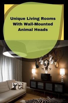 Decorating living room with unique element will make it more personal. Like adding animal heads in the wall. Some people may adore this unusual decor. Living Room Cabinets, Animal Heads, Beautiful Living Rooms, Wall Mount, Living Room Decor, Decor Ideas, Homes, Decorating, Lifestyle