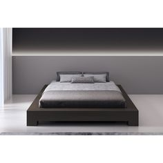 This bed with minimalistic style and refine lines will certainly blend well in any modern environment. Platform Bedroom, Queen Platform Bed, Platform Bed Frame, Upholstered Platform Bed, Minimalist Bed Frame, Platform Bed Designs, Sleigh Beds, Bed Reviews, Adjustable Beds