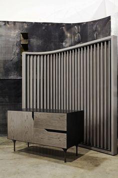 Wood Front Door & Blackened Steel Side Panel. Stiletto Brass Leg Detail