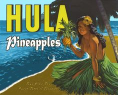 vintage Hula Pineapples.. like this for save the date layout, couple instead of hula girl