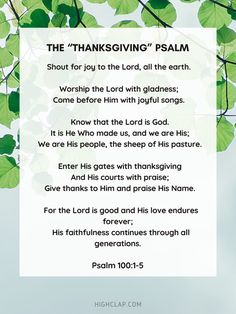 Psalm 100, Psalms, Thanksgiving Prayer, Worship The Lord, The Lord Is Good, Give Thanks, Prayers, Thankful, Faith