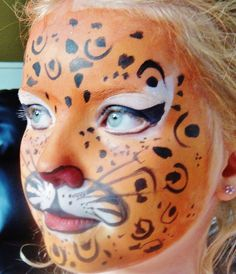 Pretty Leopard :) Cat look but not too animal-ee.. still very pretty. face paint girl kids costume Halloween www.facebook.com/catcheyemarvels