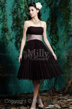 Empire Chiffon Strapless Knee-length Burgundy Bridesmaid Dress at Millybridal.com