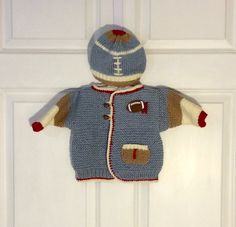 Blue Baby Football Cardigan Sweater Jacket and Bill Hat by jwickey