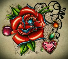 Neo-traditional rose with gems and lace tattoo design