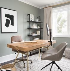 Need a productivity boost? our cosy and nostalgic blue grey, is beautifully suited for office spaces, as seen here in… Farrow And Ball Living Room, Desk In Living Room, Living Room Grey, Living Room Decor, Home Office Design, Home Office Decor, Home Decor Bedroom, Bedroom Ideas, Office Ideas
