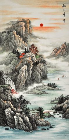 Traditional Chinese Landscape Architecture among Landscape Gardening Forum until Landscape Gardening Jobs Essex Chinese Landscape Painting, Chinese Painting, Chinese Art, Nature Paintings, Art Paintings, Landscape Paintings, Traditional Landscape, Traditional Paintings, Traditional Chinese