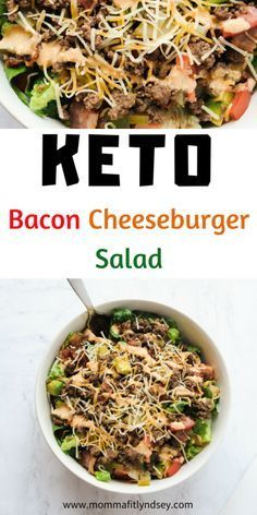 Best Keto Salad Recipes {Bacon Cheeseburger Salad} - Momma Fit Lyndsey Keto Salad Recipes for easy keto lunch or dinner idea Low Carb Recipes, Diet Recipes, Healthy Recipes, Dinner Salad Recipes, Clean Eating Dinner Recipes, Keto Recipes Dinner Easy, Quick Salad Recipes, Clean Eating Recipes For Weight Loss, Keto Lunch Ideas
