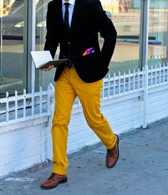 Mustard! Love this look but I would have gone with a brown blazer not black