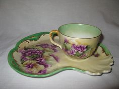 Early 1900's Limoges Tea Cup & Scalloped Saucer Signed Hand Painted Antique Set