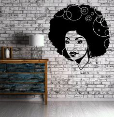 Beautiful African Woman Curly Hair Sexy Art Decor Wall Mural Vinyl Sticker M449