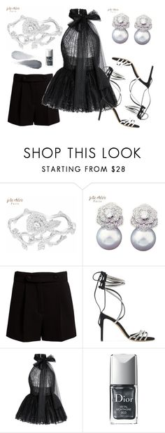 """""""Chic in Silver and Black - Jolie Chérie Cuff Bracelet and Earrings"""" by joliecherieparis ❤ liked on Polyvore featuring Valentino, Alexandre Vauthier, Elie Saab, Christian Dior and Clé de Peau Beauté"""