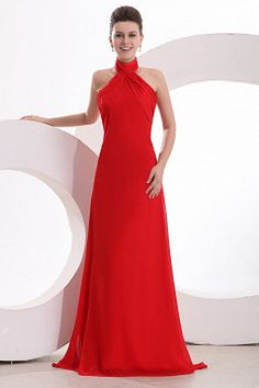 Prom Dresses online shop offers Red Halter Top Neck Empire Chiffon Ruche Prom Dress with Sweep Train features halter top neckline empire in red color, chiffon dress with zipper back and bush train train for prom formal evening . A Line Evening Dress, Formal Evening Dresses, Strapless Dress Formal, Red Chiffon, Chiffon Dress, Cheap Graduation Dresses, Quinceanera Dresses, Prom Gowns, Pleated Fabric