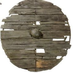 Viking round shields: The sagas specifically mention linden wood for shield construction, although finds from graves shows mostly other timbers, such as fir, alder and poplar. These timbers are not very dense and are light in the hand, they were often reinforced with leather or iron around the rim. The size was usually 75 – 90 cm in diameter and the weight could be up to 10 kilos. (9th-century wooden shield)