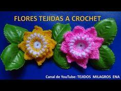 Flor tejida a crochet # 5 paso a paso en español - YouTube