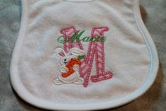 Personalized Terry Cloth  Bib for Baby Boys and Girls with Rabbit