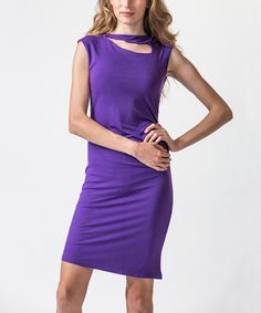 Take a look at this Acai Purple Cutout Dress by Amelia on #zulily today!
