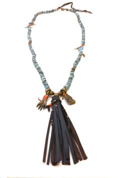 De Petra Signature Mala Necklace with aquamarine, chalcedony, turmaline, baby calf leather tassel, buddha and hand of plenty.