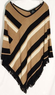 LENNIE-NINA LEONARD Camel-Tan-Black 55% Cotton Poncho - Black Fringe - One Size #LennieforNinaLeonard #Poncho #lennie #nina #leonard #sweater #top #camel #tan #black #fringe #onesize