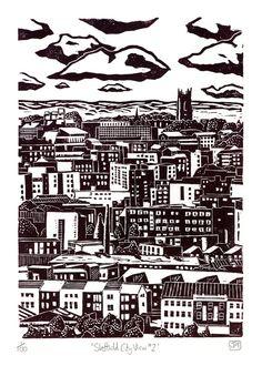 Sheffield City View No.2 linocut print
