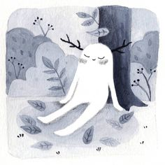 """Fran 🍊✨ on Instagram: """"Día 2: Leaves 🍃. Una criatura del bosque disfrutando el otoño y las hojas que caen.  Sigo con la lista de @ragonia_ 💖  #spookyncozy…"""" Illustrators, Inktober, Halloween Illustration, Illustration, Spooky, Whimsical"""