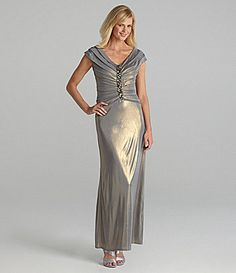 $180 KM Collections Ruched Gown   Dillards.com